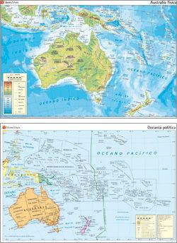 MAPAS MURALES N 31 AUSTRALASIA FISICA OCEANIA POLITICA  VVAA