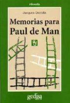 memorias para paul de man paul derrida 9788474323351