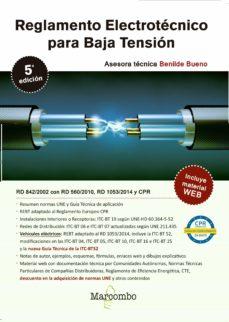 Textbooknova: REGLAMENTO ELECTROTECNICO PARA BAJA TENSION (5ª ED) de BENILDE BUENO GONZALEZ 9788426726421 RTF