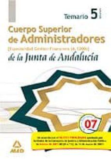Inmaswan.es Cuerpo Superior De Administradores De La Junta De Andalucia. Espe Cialidad Administradores De Gestion Financiera (A1200). Temario (Vol. V) Image